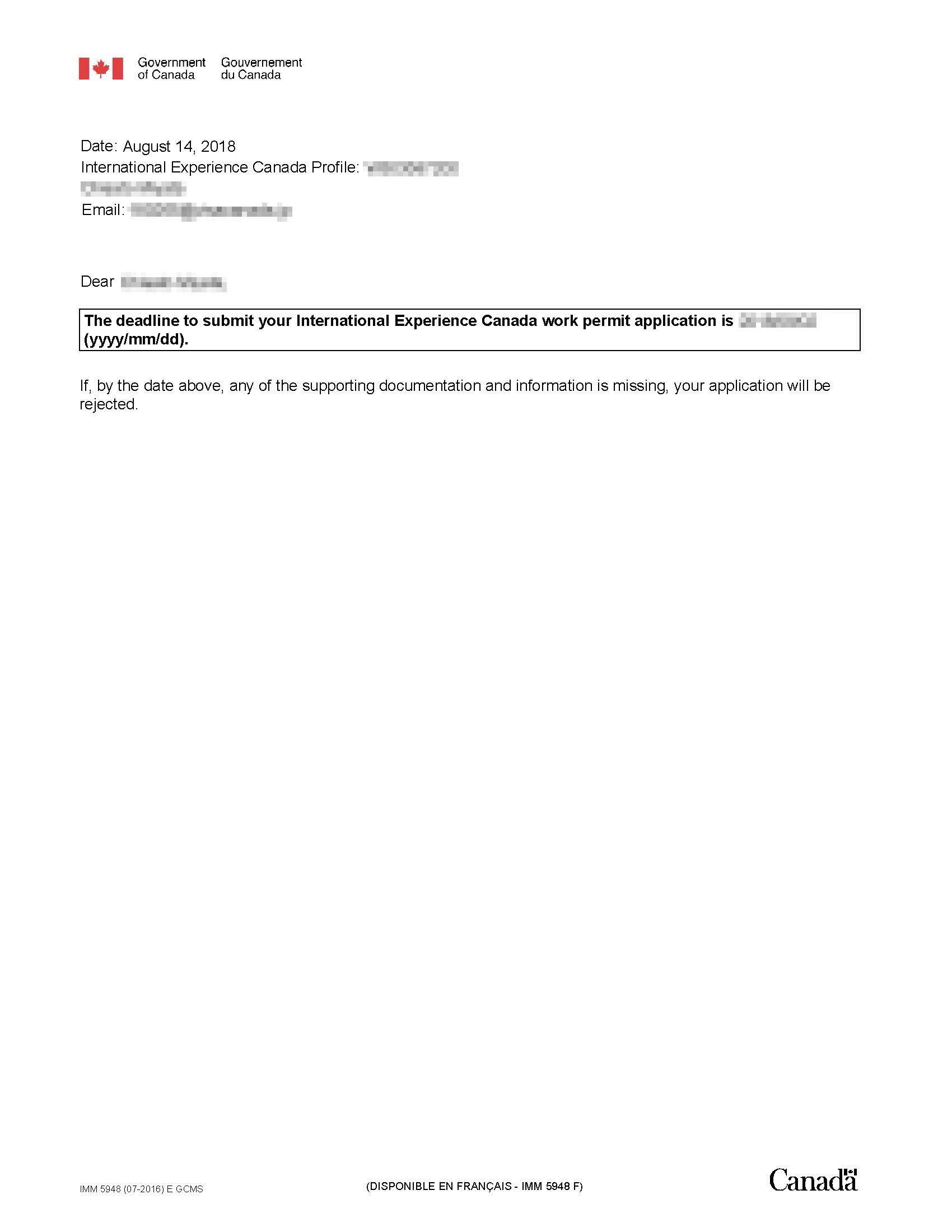 step 6.ITA Accept後に発行されるレター(申請期限記載)